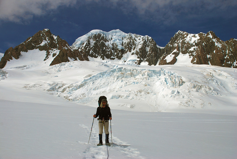 Snow shoeing on the Fox Glacier névés. Lendenfeld Peak, Mount Tasman and Torres Peak above