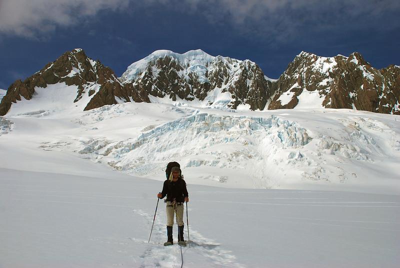 Snow shoeing on the Fox Glacier névés. Lendenfeld Peak, Mount Tasman and Torres Peak above