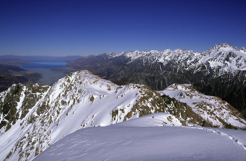 Lake Pukaki and the Ben Ohau Range. Mt Sealy on the far right
