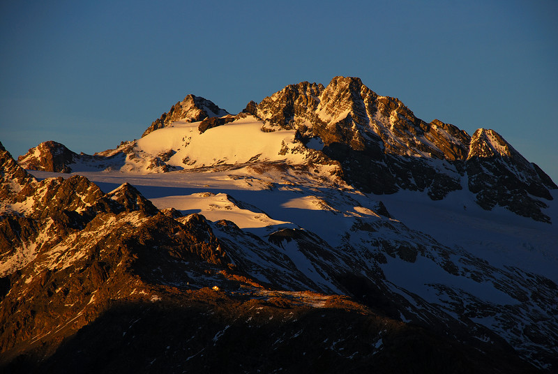 First sunlight on Mount Sealy and Mueller Hut
