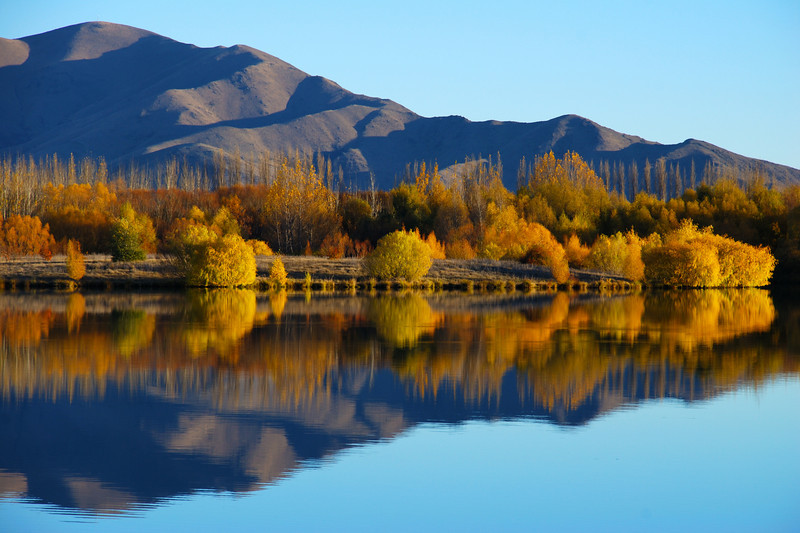 Autumn reflections at Wairepo Arm, Lake Ruataniwha