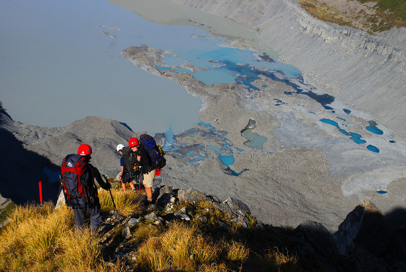 Descending from Sefton Biv. The terminal lake of the Mueller Glacier below