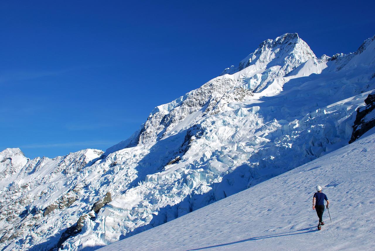 Jaz goes for a stroll om the Tewaewae Glacier. Mount Sefton above.