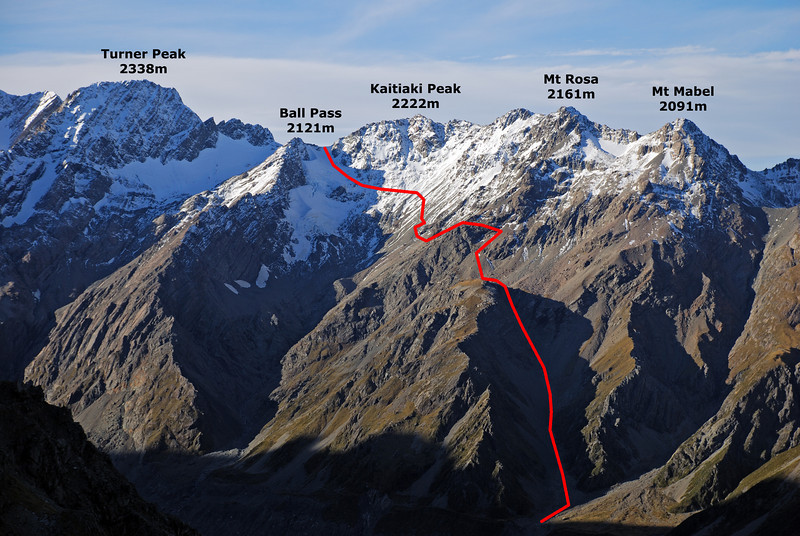 The route to Ball Pass from the ridge below Sefton Biv