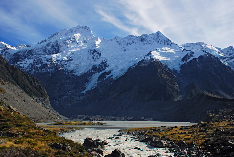 Mount Sefton and the Footstool dominate the scene above the Mueller Glacier Lake