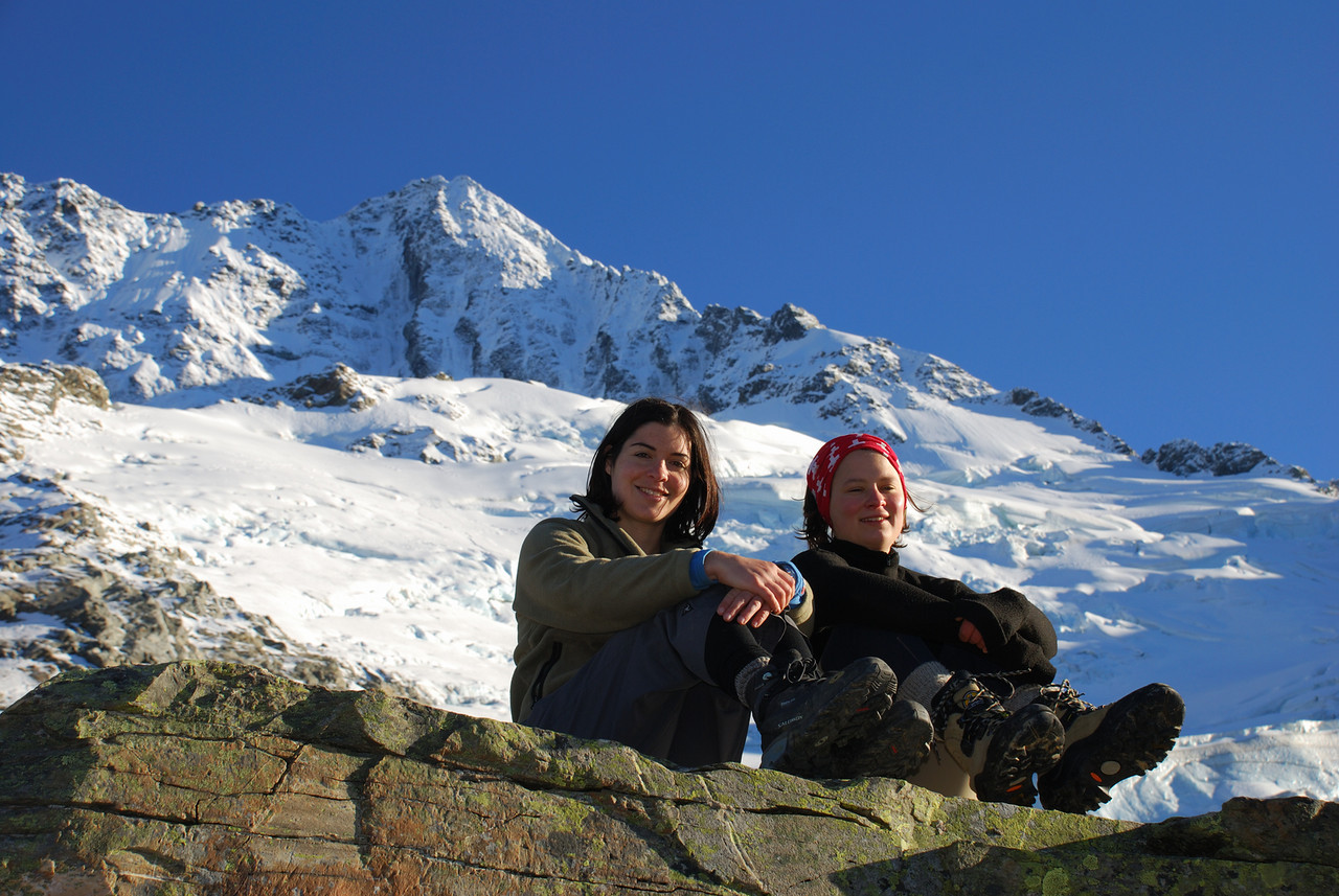 Michelle and Nina on top of Sefton bivvy rock