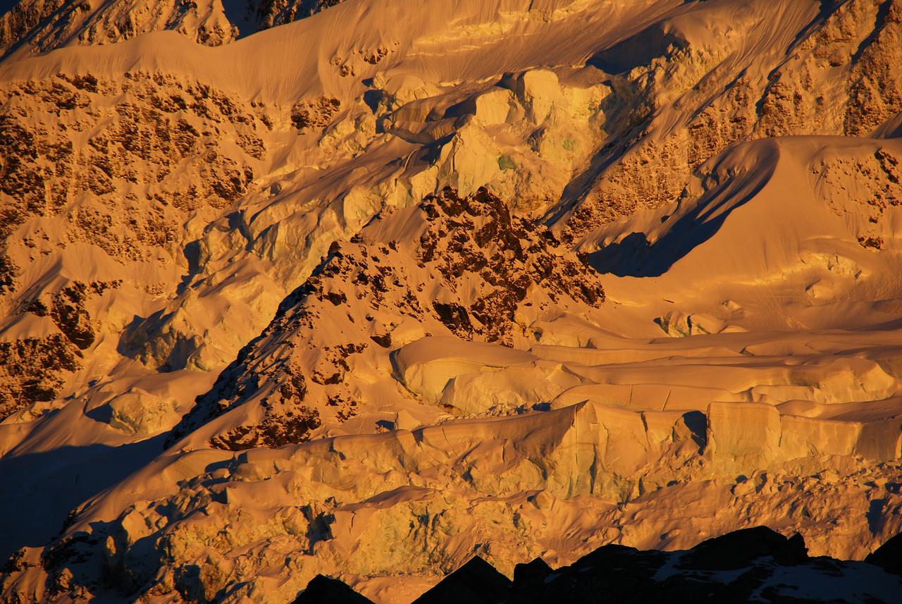 First morning light on the Tuckett Glacier