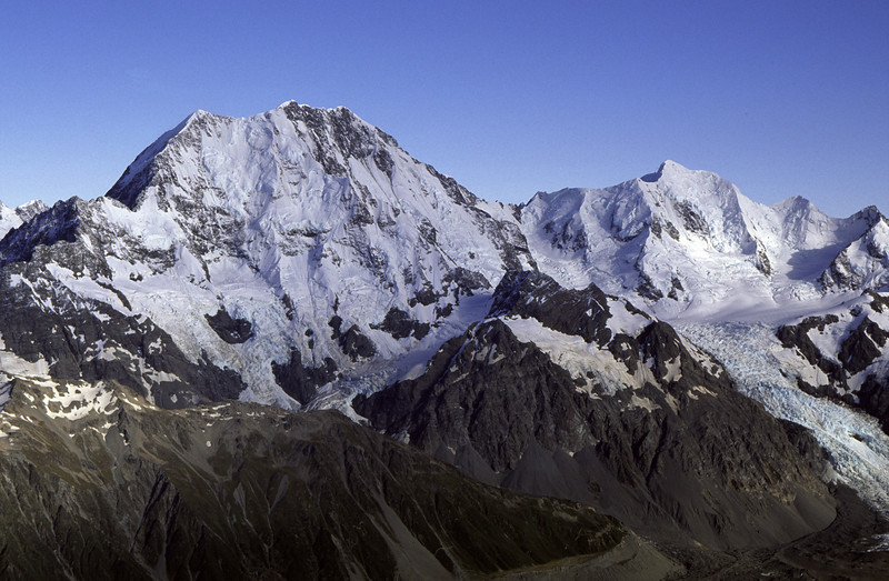 Mt Cook and Mt Tasman from the summit of The Nuns Veil