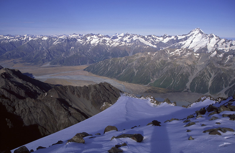 Looking south-west from the summit of The Nuns Veil. Mt Sefton stands out on the right