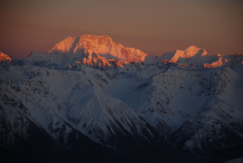 Mt Cook and Mt Tasman at sunrise