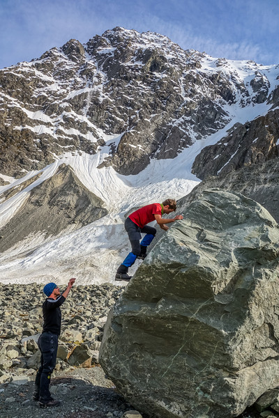 Bouldering on the Cameron Glacier moraine