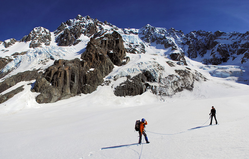 On the Ashburton Glacier. Mount Arrowsmith above