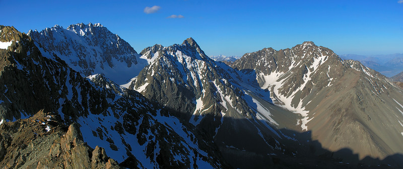 Jagged Peak, Tent Peak and The Marquee from pt 2238m, Cameron River