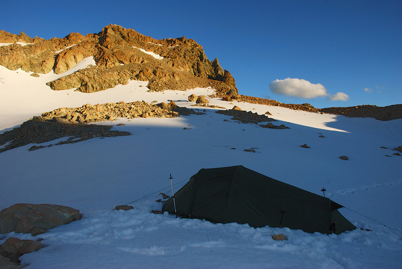 Campsite at 2150m of elevation at the head of the Ashburton Glacier. Pt 2238m above