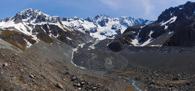Ashburton Glacier and moraine. Ashburton Peak (left) and Mount Arrowsmith (right) above