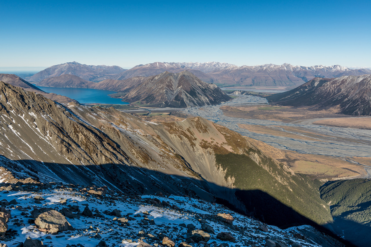Lake Coleridge and the Wilberforce River from Pt 1850m, Birdwood Range