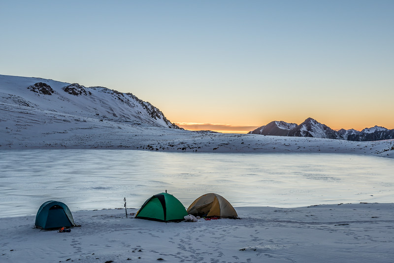 Campsite on the shore of Casey Tarn, Birdwood Range. Thesis Peak on right