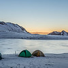 Campsite on the shore of Casey Tarn, Birdwood Range. Thesis Peak on right