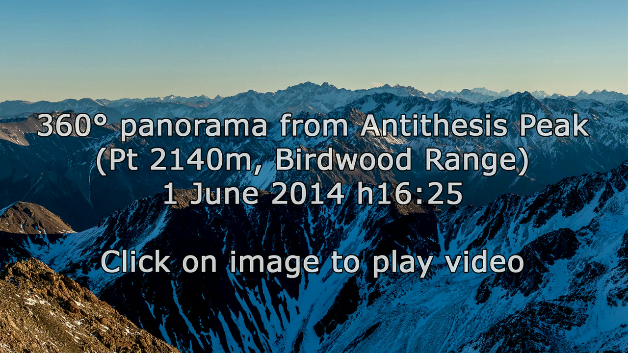 "360° panorama from ""Antithesis Peak"" (Pt 2140m, Birdwood Range)"