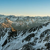 "View from the summit of ""Antithesis Peak"" (Pt 2140m, Birdwood Range). From left to right ar Mt Arrowsmith, Aoraki/Mt Cook, Mt Tasman, Mt Elie de Beaumont, Mt Whitcombe."