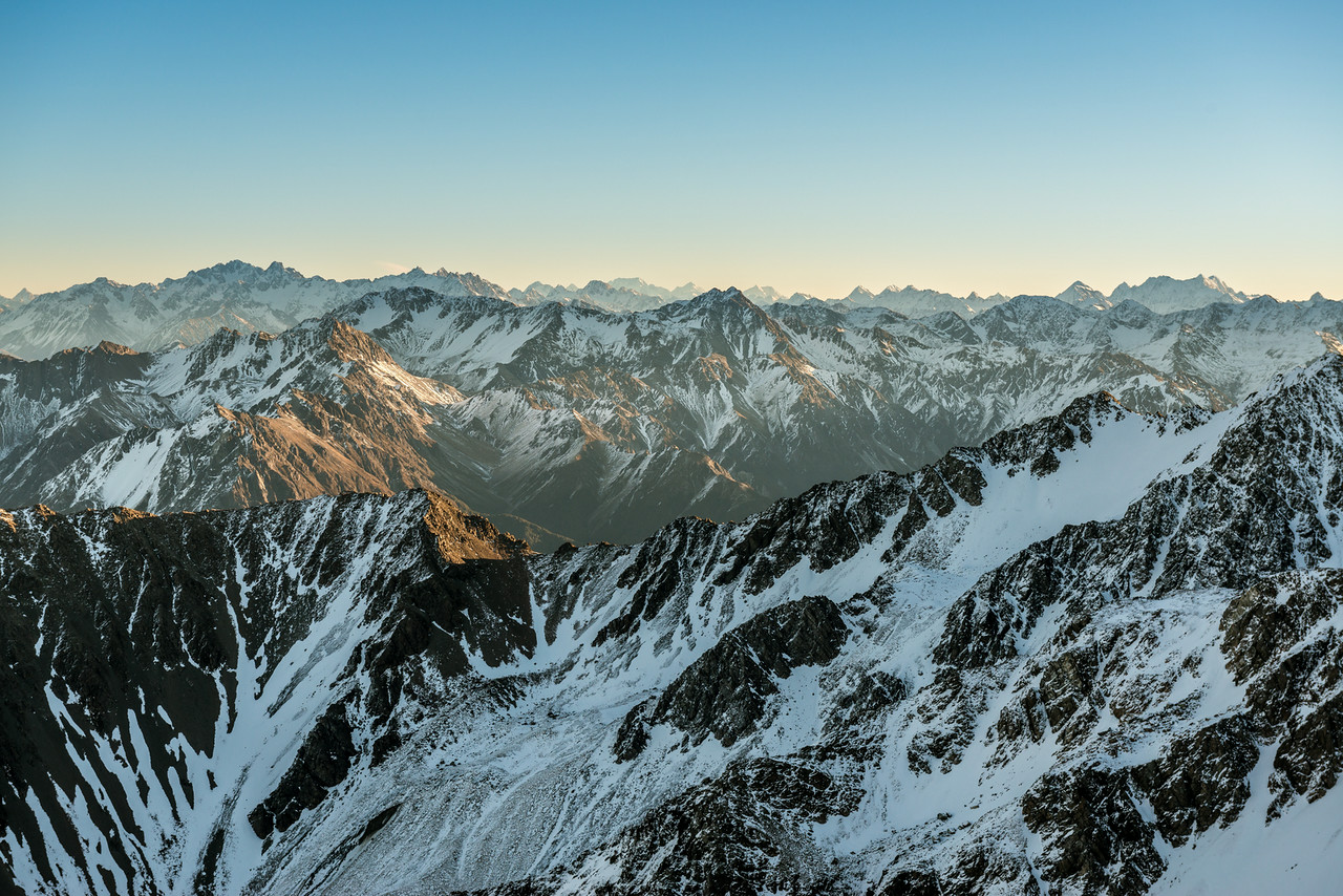 "View from the summit of ""Antithesis Peak"" (Pt 2140m, Birdwood Range). From left to right ar Mt Arrowsmith, Aoraki/Mt Cook, Mt Tasman, Mt Elie de Beaumont, Mt Whitcombe."