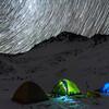Star trails over Casey Tarn, Birdwood Range