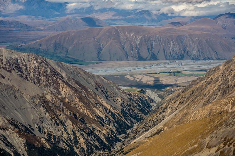View from Mount Pattisson into Bush Stream and the Rangitata River.