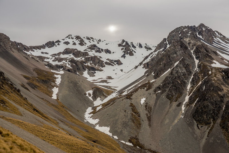 Our descent route from Mount Pattisson (Two Thumb Range) into Bush Stream.