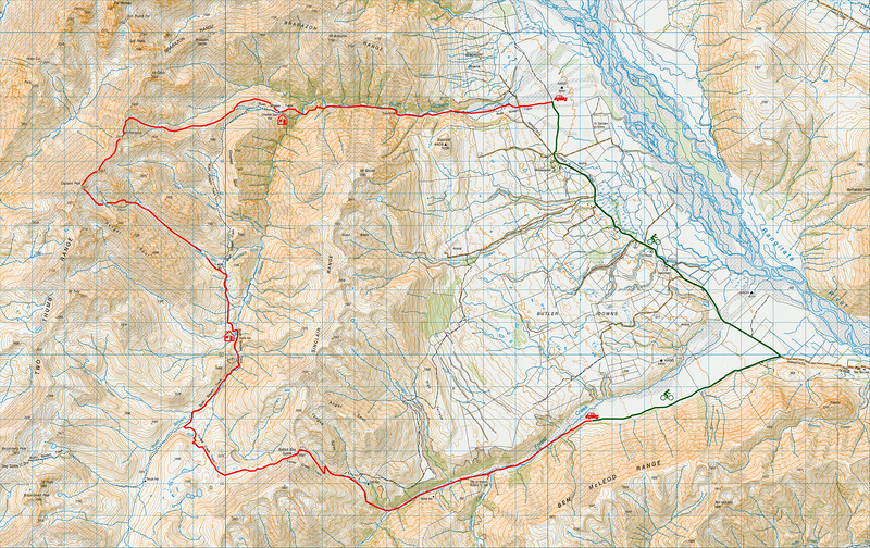 """Trip map. 1 grid square = 1km. Left click on map then select """"Sizes -> Original"""" in bottom right corner of screen to view full size. For access up the Forest Creek road, contact Ben McLeod Station (phone 03 696 3747)."""