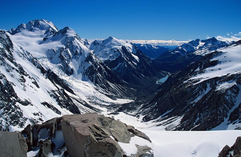 Blair Peak and Lake Lyell from below Rangitata Col