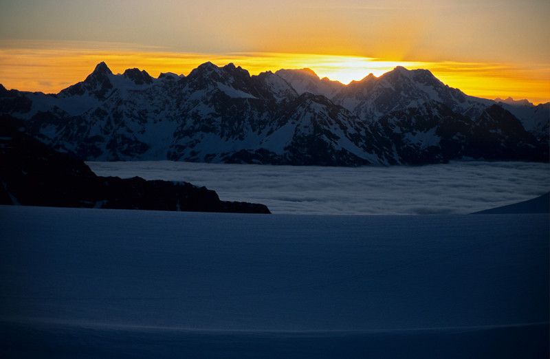Sunset on Mt Cook from Adams Col, Garden of Eden ice plateau