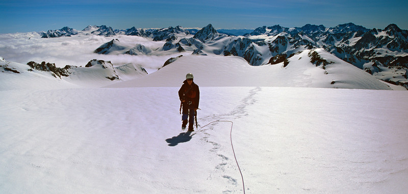 Near the summit of Mt Tyndall, looking west