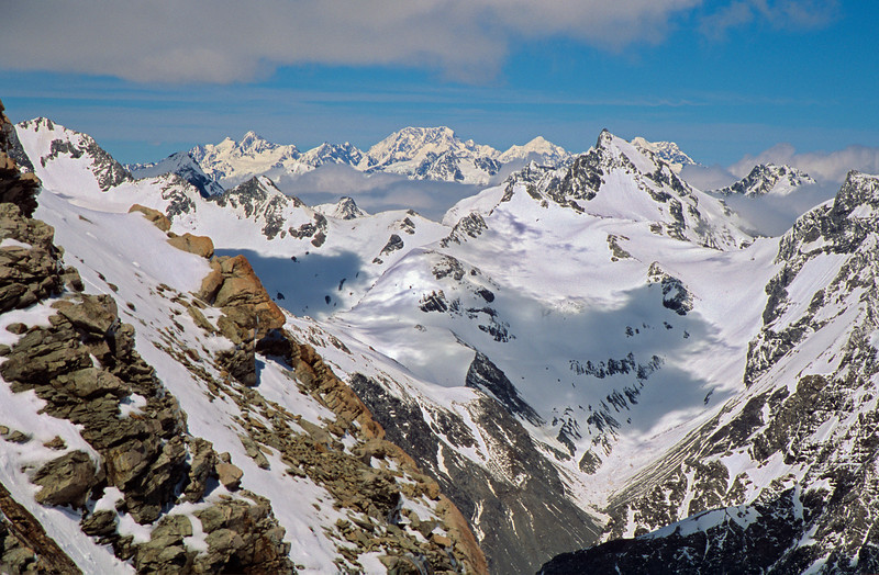 Mt Cook from above Rangitata Col. Outram Peak in the foreground
