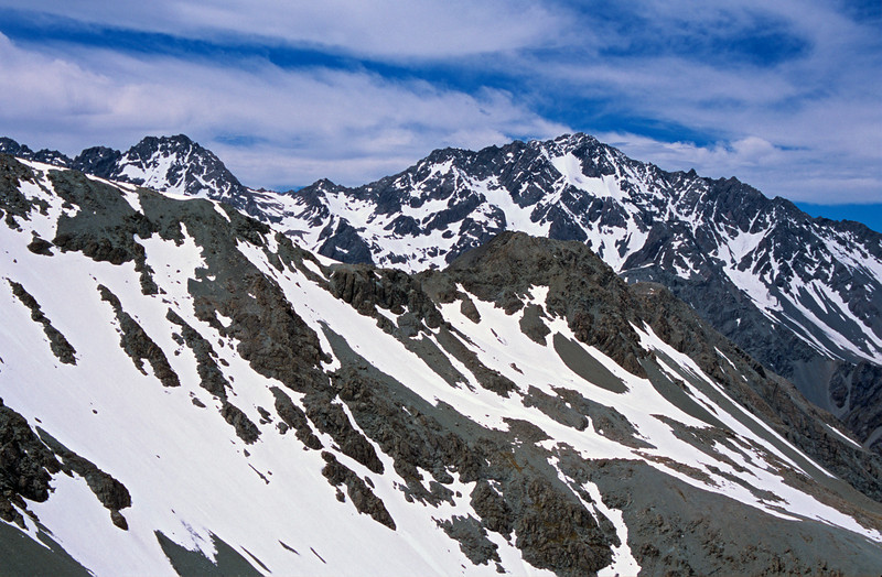 Couloir Peak and Mt Arrowsmith from Butler Saddle