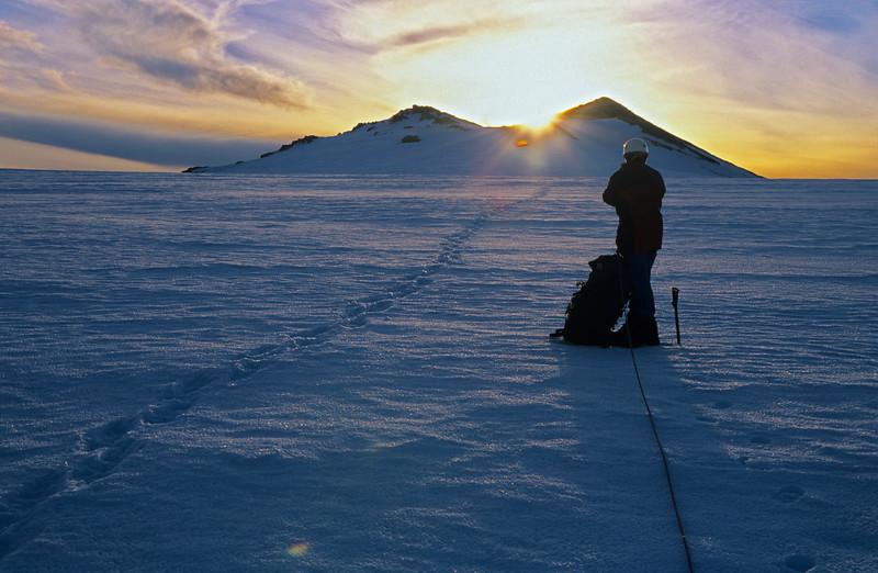 Sunrise over Baker Peak, Garden of Eden ice plateau