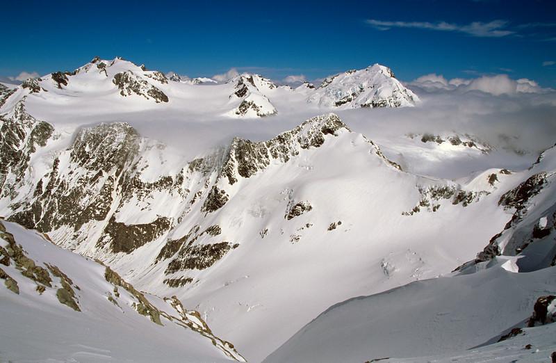 Looking onto the Lambert Glacier. Newton Peak and Mt Tyndall on the left, Mt Lambert right