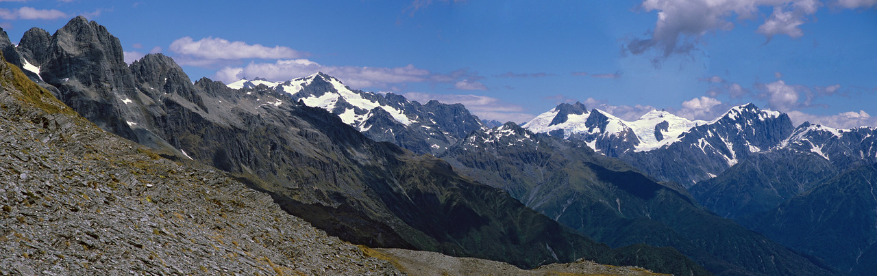 Panorama from the upper Smyth: Lord Range, Mt Lambert and Mts Farrar, Hulka and Kensington
