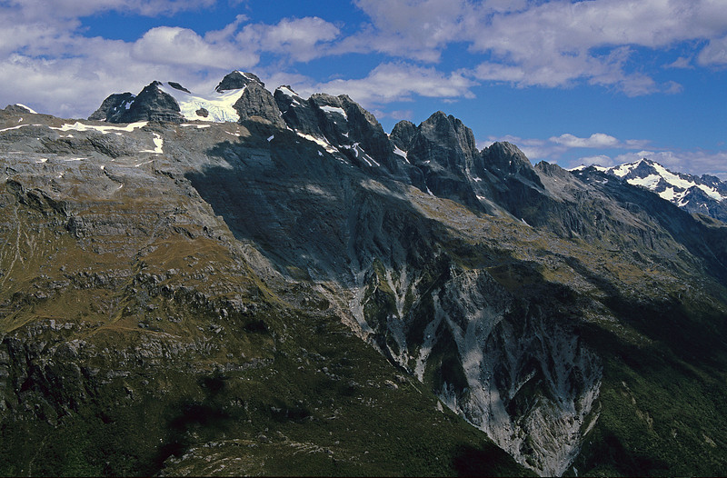 Dan Peak (back), Mueller Peak (front) and Devastation Creek headwaters from the upper Smyth