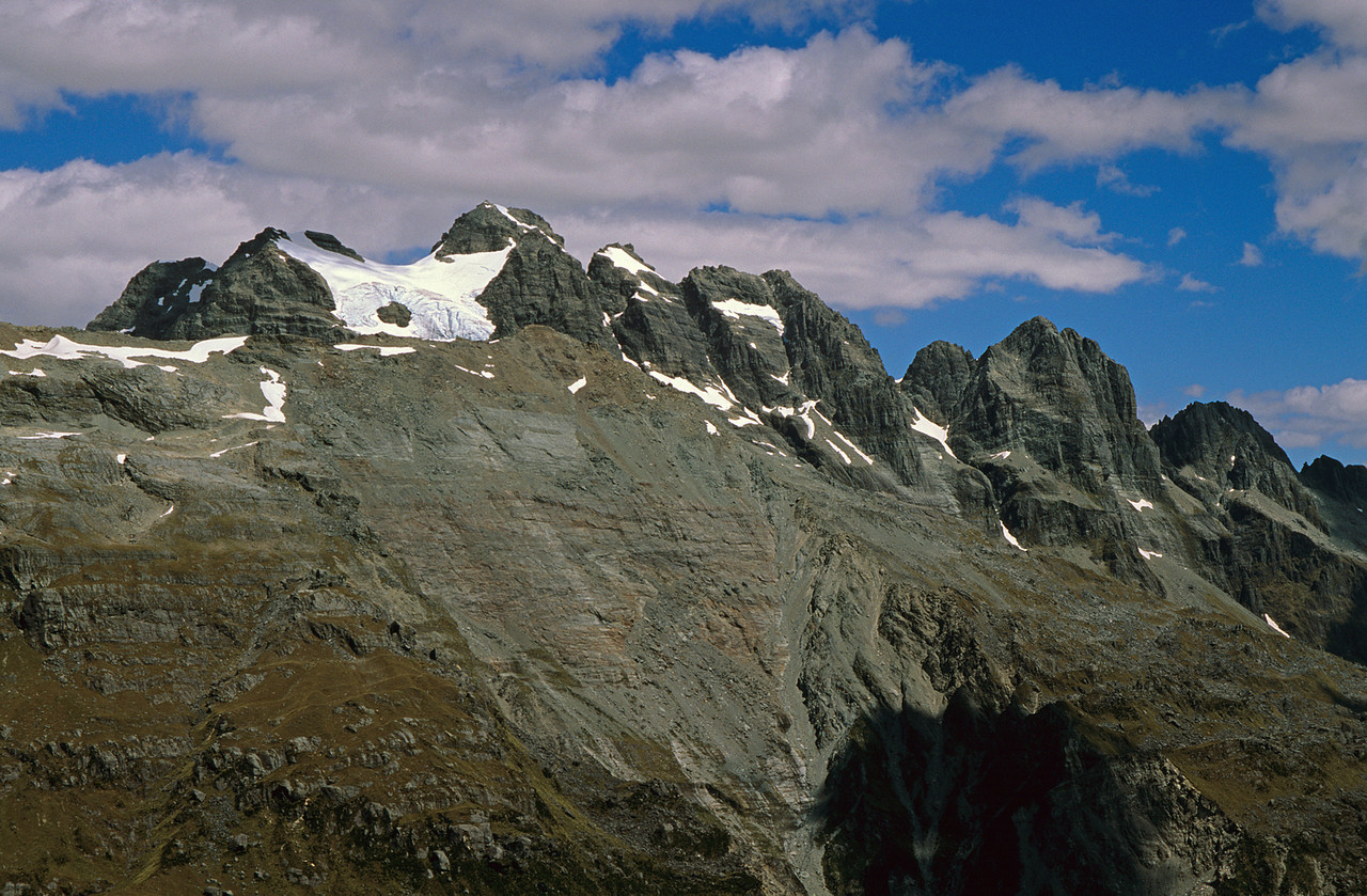 Dan Peak (back), Mueller Peak (front) and Devastation Creek headwaters from the upper Smyth