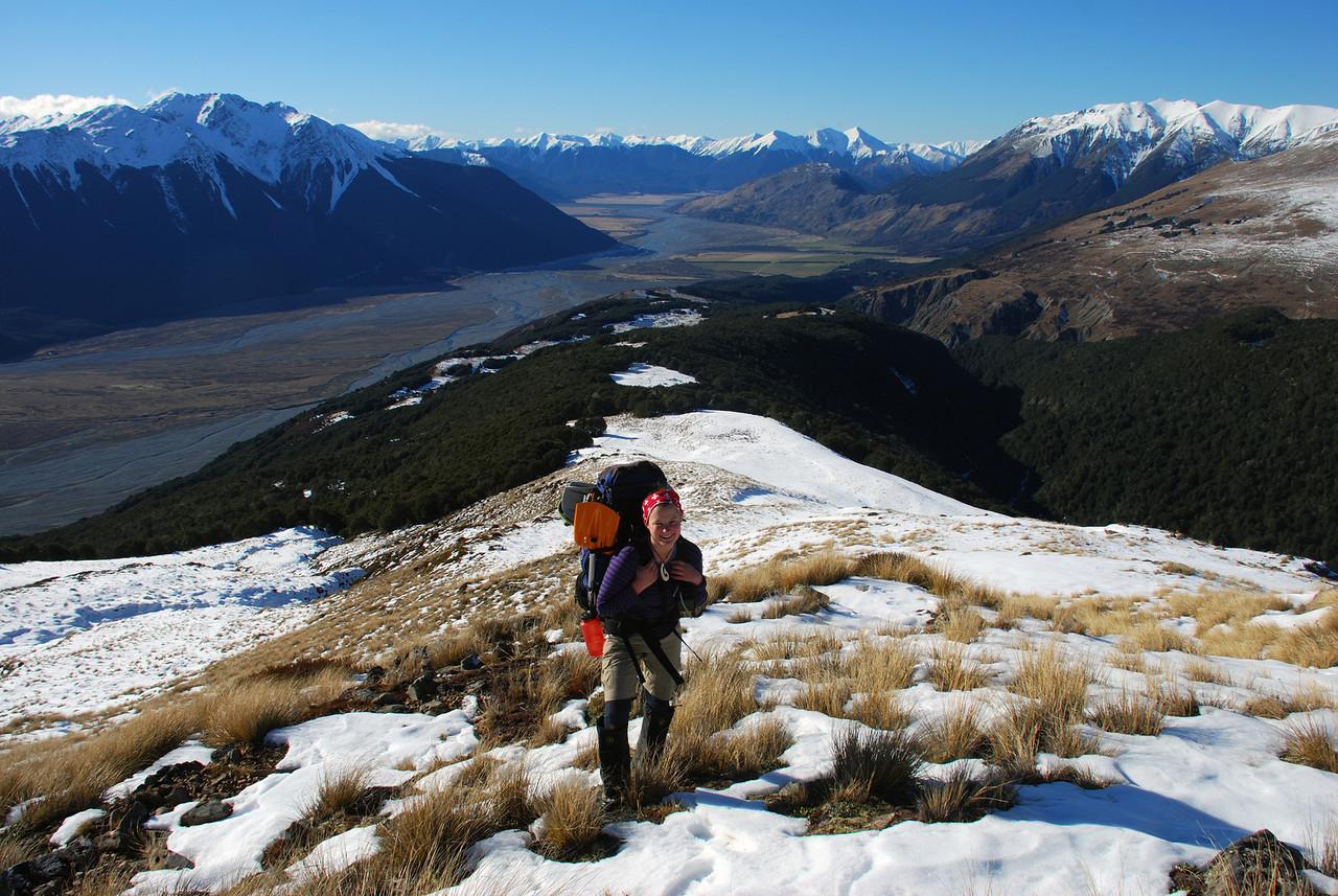 Nina on Hut Spur, high above the Waimakariri River