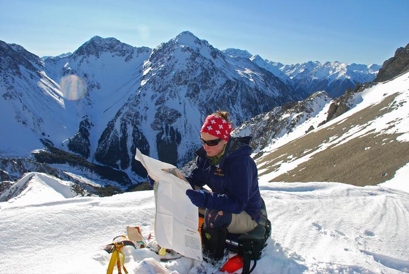 Map reading session on Sphinx Saddle. The Mottram Peaks behind