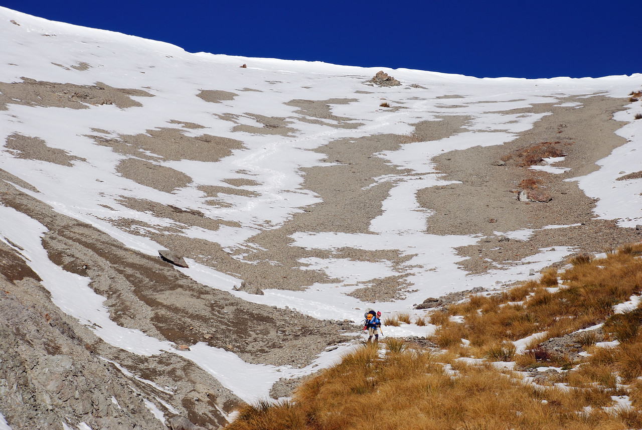 Descent from Sphinx Saddle into the Anti Crow River