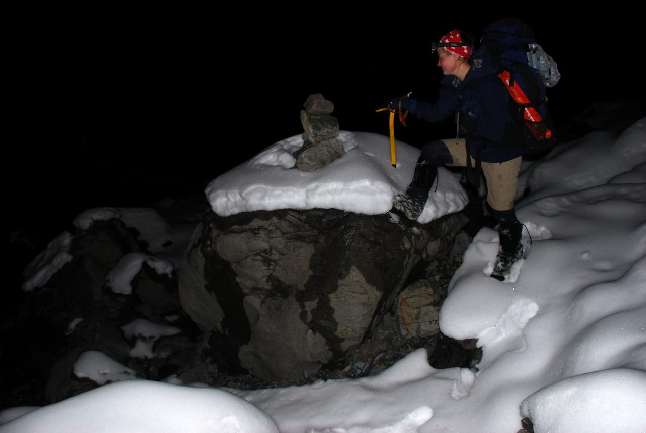 Boulder bashing down a snowy Galilee Creek at night. Fun, huh?