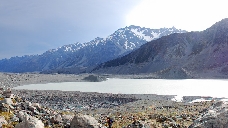 The Liebig Range and lower Godley Lake from near Godley Hut. Mt Acland and Mt Sydney King to the right.