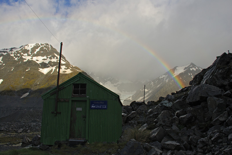 Rainbow over Godley Hut