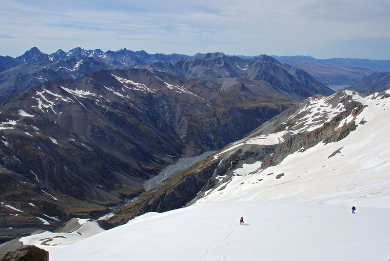 Looking back into the Macaulay River and the Two Thumb Range from the pass north of Mt Forbes