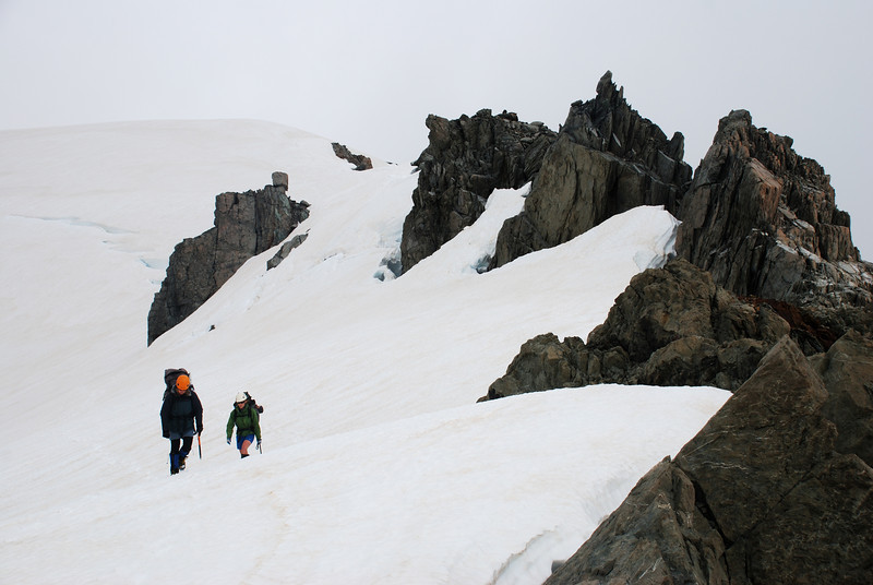 Descending to the unnamed col separating the Saint Winifred from the Forbes, on the east ridge of Pyramus Peak
