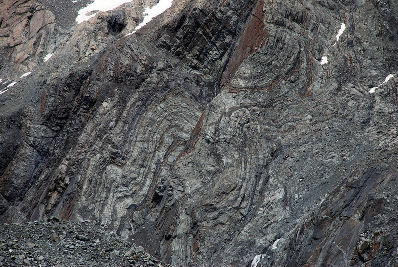 Rock strata on the Commander's NW face