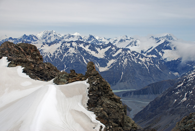 Looking across the Godley from Mt Forbes: Mt Cook, Mt Tasman and Mt Elie de Beaumont