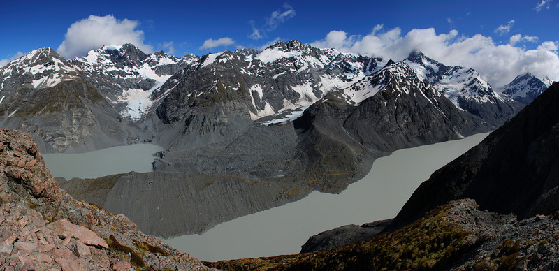 The Godley Lakes. Panorama is on the far left, Mt Moffat in cloud just to the right, Mt Fletcher at centre image and Mt Wolseley to the right.